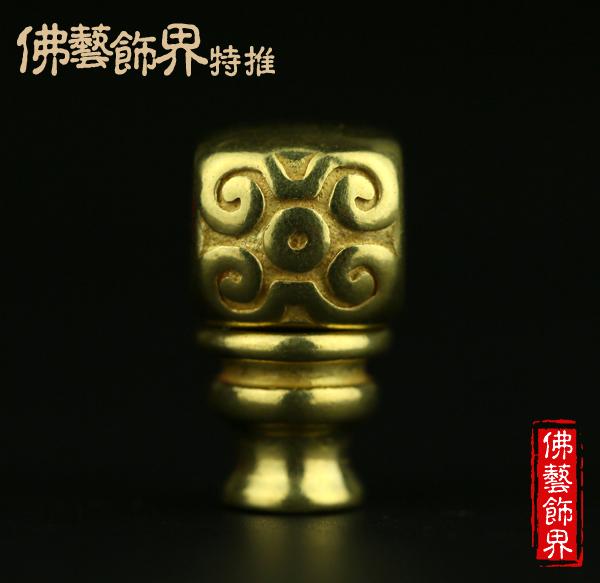 黄铜复刻方形雕花三通佛头DIY星月金刚菩提佛珠念珠配饰配件饰品