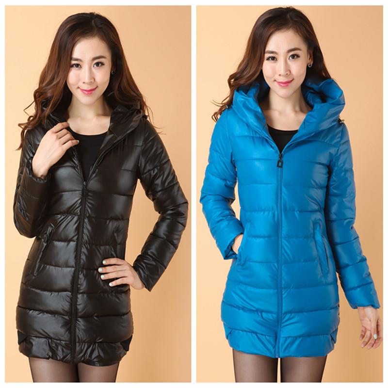 2014秋冬新款女装修身韩版修身PU皮羽绒棉服女中长款女士棉衣包邮