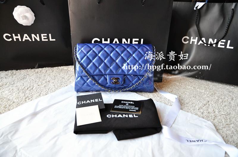 法国代购正品 chanel timeless clutch 手包 肩包 漆皮 电光蓝