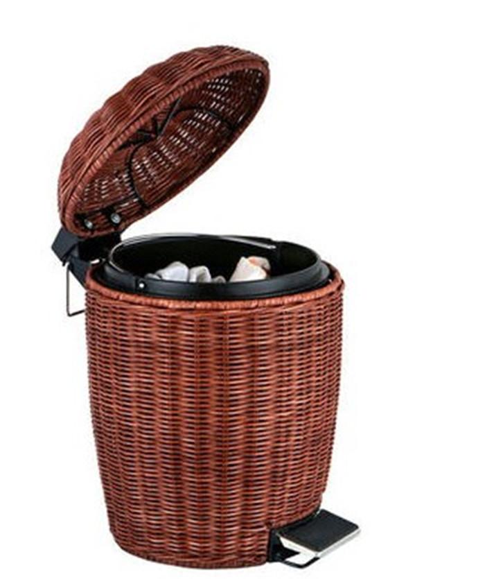 藤编可爱欧式家用带盖卫生间垃圾筒客厅厨房垃圾桶脚踏式创意大号