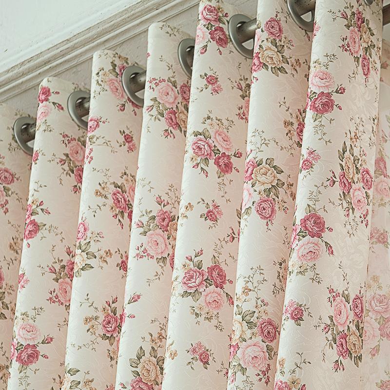 帘帘有余简约现代卧室客厅碎花田园窗帘成品窗纱飘窗落地窗布定制