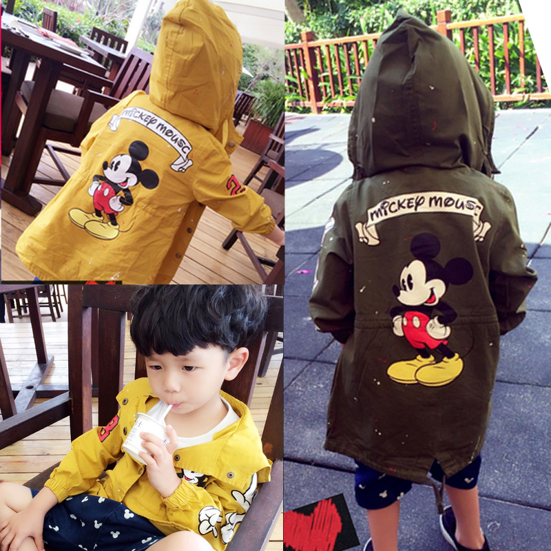 男童春秋款风衣中小儿童宝宝中长大衣款外套1-2-3-4-5岁中长款潮