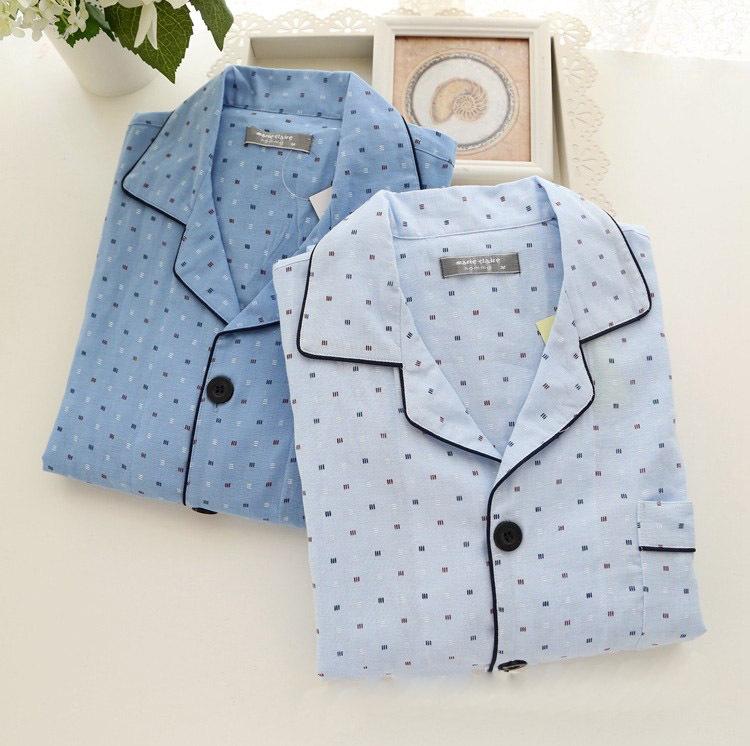 【青山集】日本制 无印100%棉男式长袖长裤睡衣 居家服套组良品设