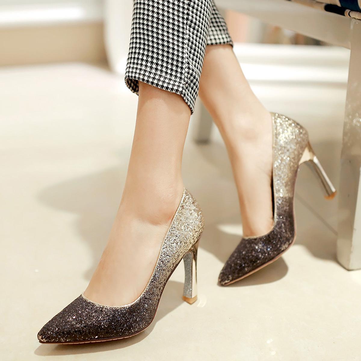韩国公主粗跟超高跟鞋宴会鞋尖头浅口单鞋水晶婚鞋新娘鞋女鞋新款