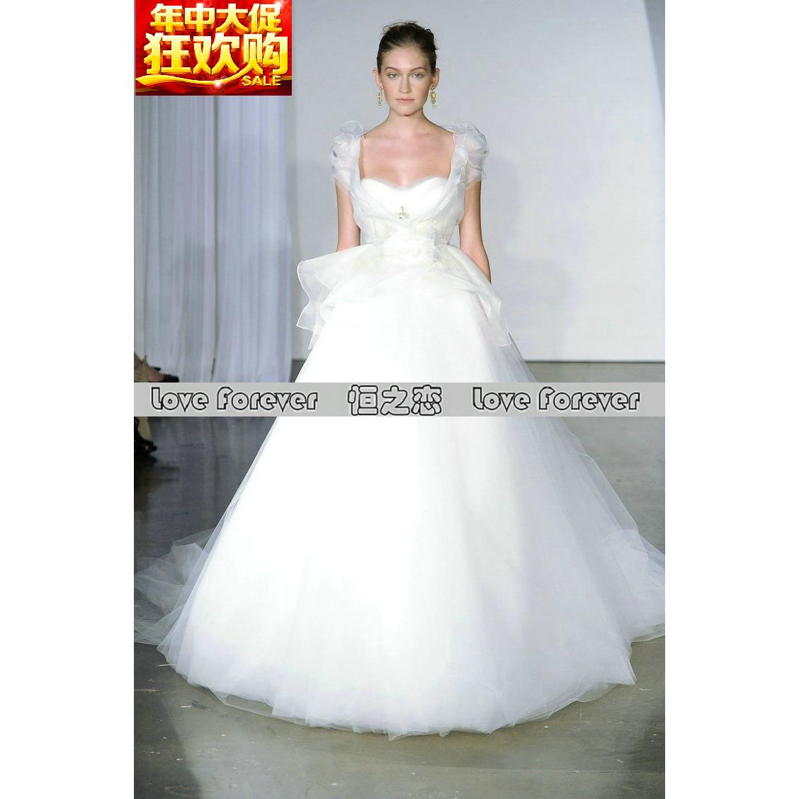时尚优雅A字裙2015新款Marchesa 新娘结婚礼精品主婚纱淘金币抵现