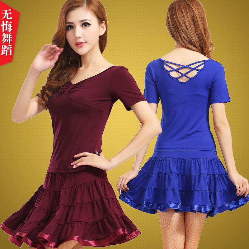 广场舞服装 夏短袖拉丁舞裙套装表演服女新款跳舞衣演出服 短裙