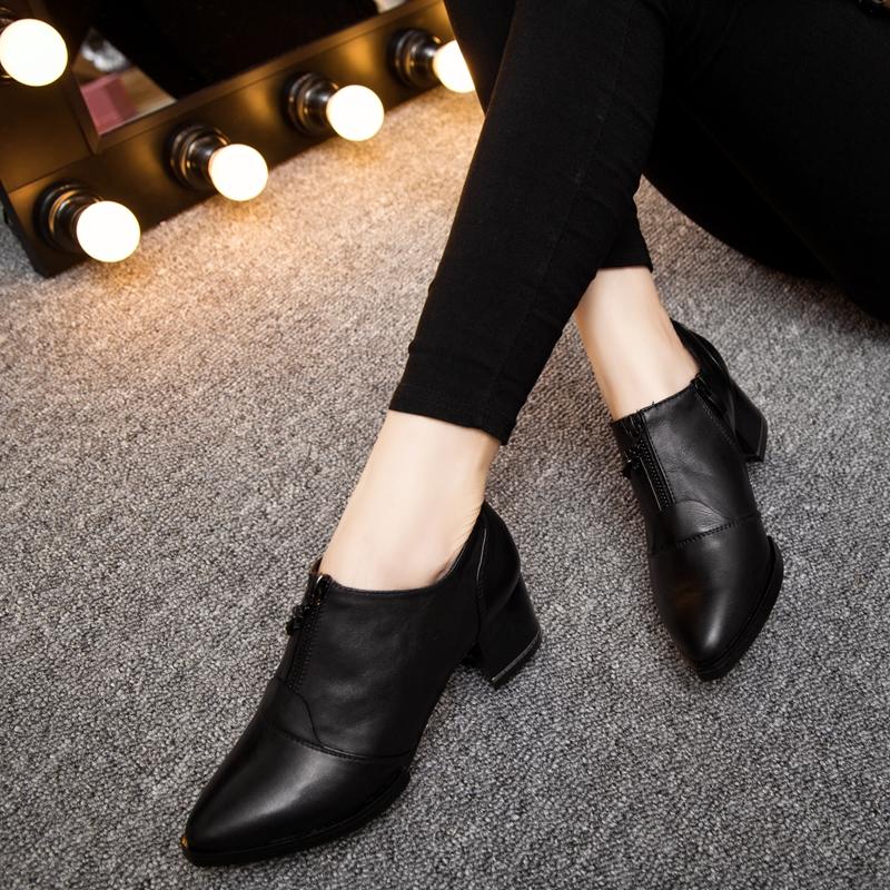 2015秋季新款潮真皮单鞋女中跟 深口尖头牛皮欧美英伦风粗跟女鞋