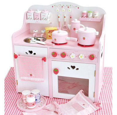 外贸Mother Garden草莓超大豪华厨房套装灶台 木制过家家儿童玩具