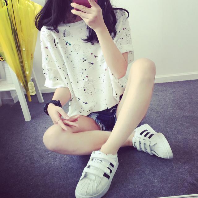 韩国宽松半袖女装印花上衣大码夏装短袖波点破洞t恤 学生闺蜜体恤