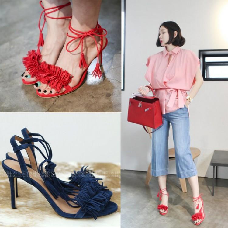 韩国代购流苏磨砂真皮细带高跟细跟脚环绑带女凉鞋红色宴会婚鞋夏