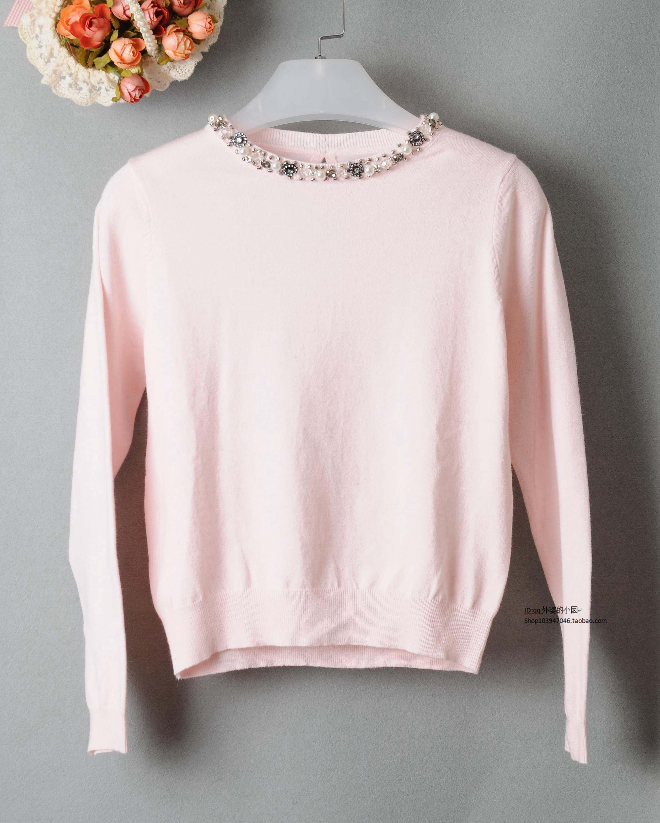 2015年秋新款韩国圆领纯色套头时尚领口带钻针织毛衣