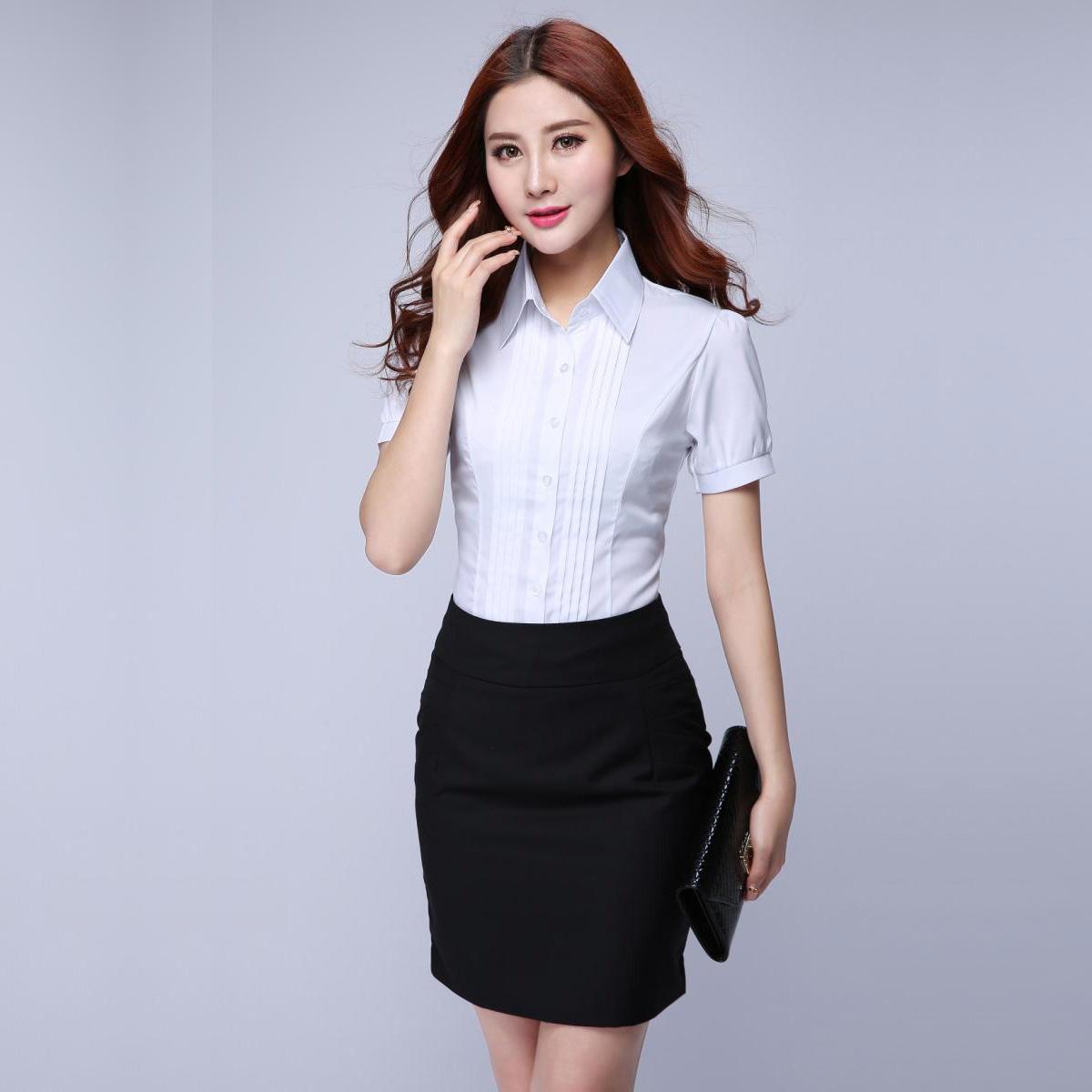 大码雪纺短袖上衣职业装半袖白衬衣正装工作服工装泡泡袖衬衫女夏