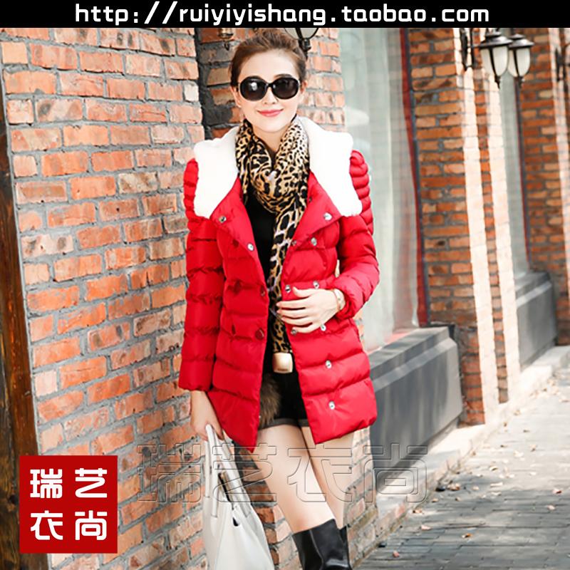冬连帽毛领泡泡袖收腰双排扣羽绒棉外套中长款时尚可爱甜美棉衣女