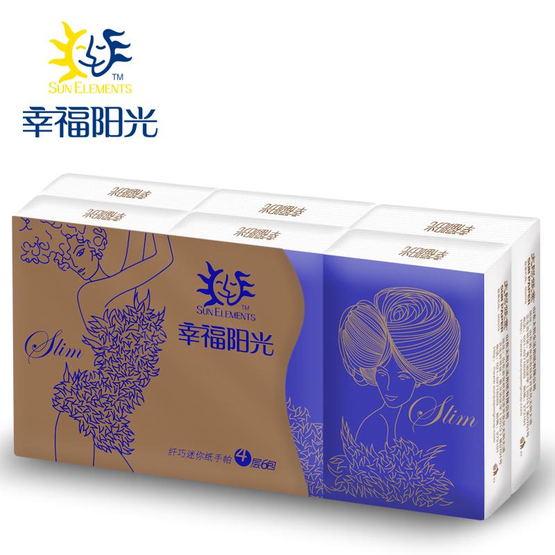 【天猫超市】幸福阳光 时尚窈窕系列 4层6包 SLIM手帕纸 纸巾