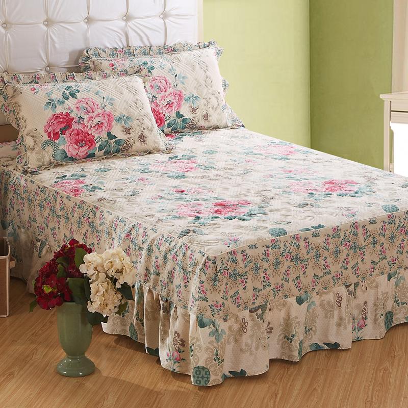 花木家居 夹棉加棉单件床裙 床上用品 全棉斜纹纯棉床单床罩 加厚