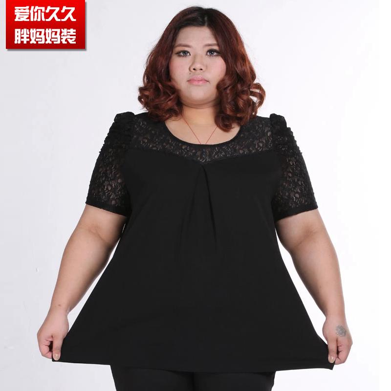 胖妈妈女装 宽松显瘦蕾丝短袖T恤女 加肥加大胖妈200斤夏季上衣
