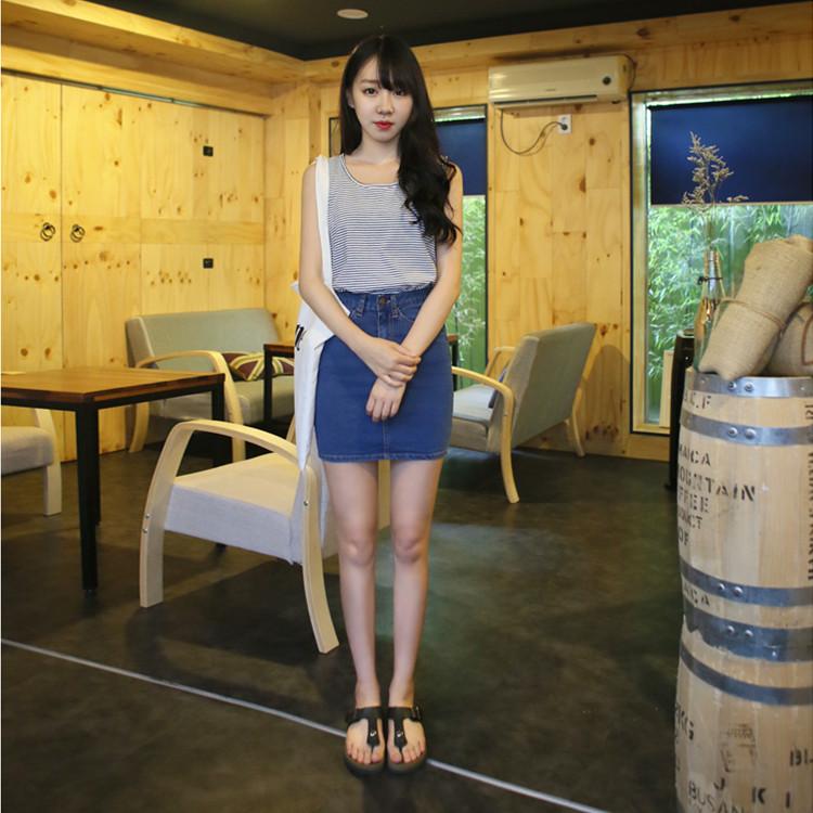 2015春夏新款高腰半身裙弹力牛仔包臀裙短裙大码韩版一步裙牛仔裙