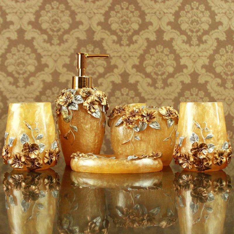 包邮 正品婚庆礼品 浴室用品洗漱套件树脂卫浴浪漫庄园黄五件套