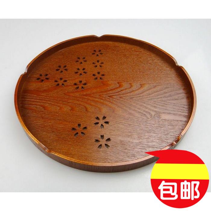 包邮欧式镂空木质茶盘 特价茶具托盘 樱花木制圆盘 创意茶盘