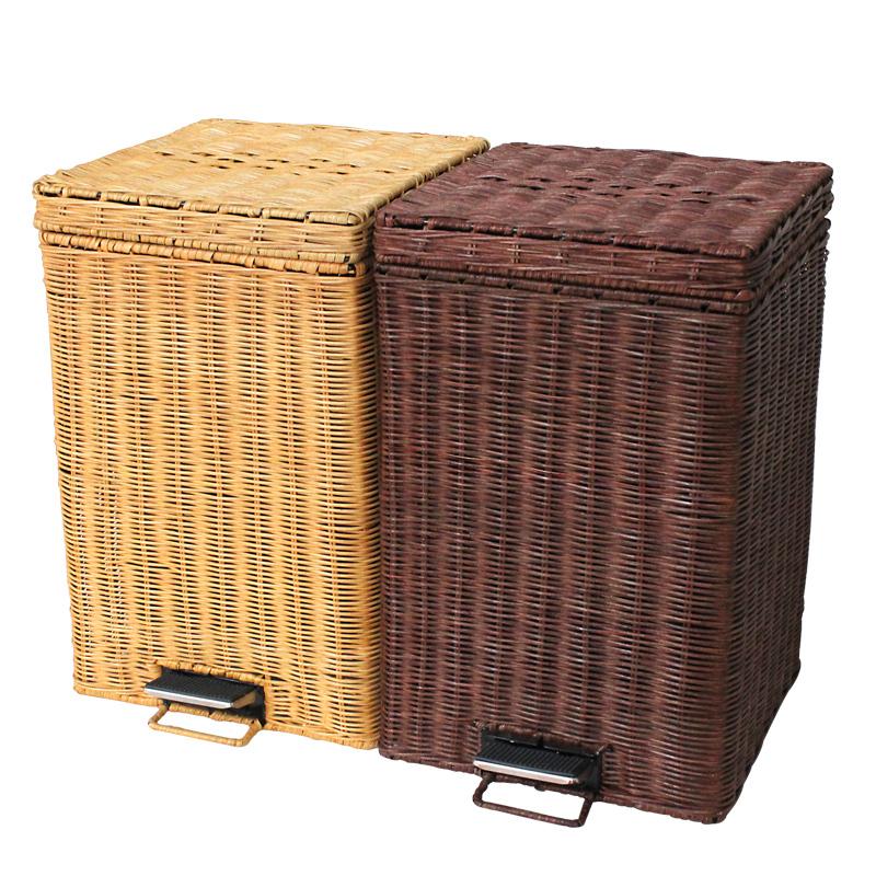 竹藤编正方形家用有盖迷你创意垃圾桶大号脚踏式卫生间小型垃圾筒