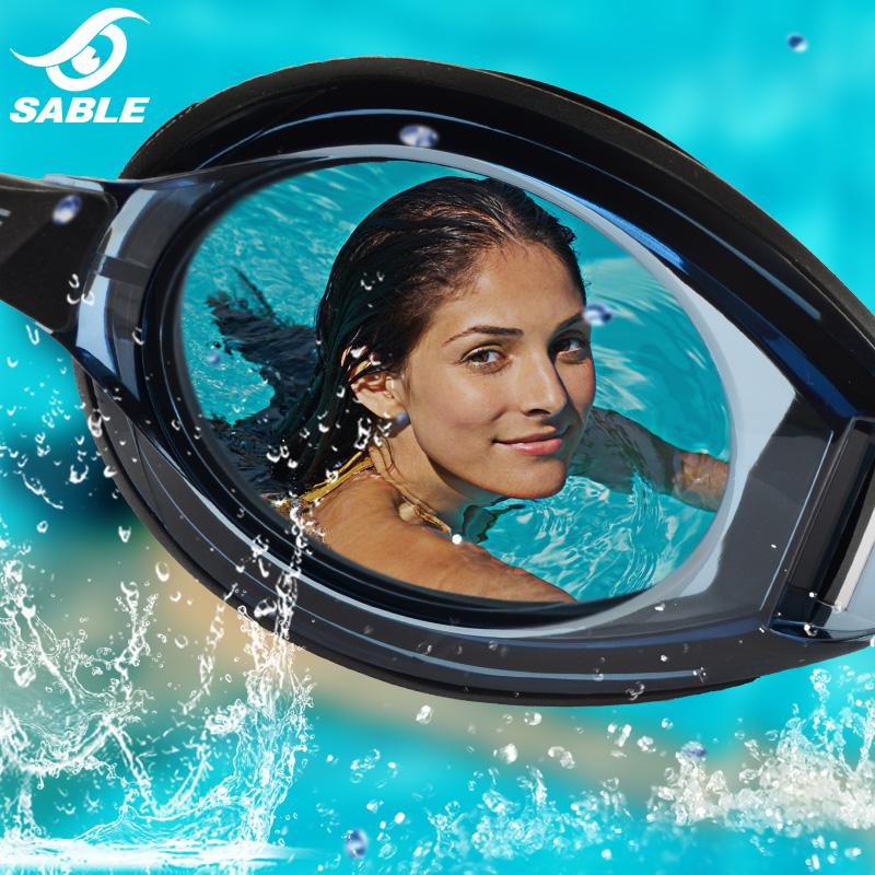 高清黑貂游泳眼镜专业近视泳镜防水防雾大框左右不同度数男女透明