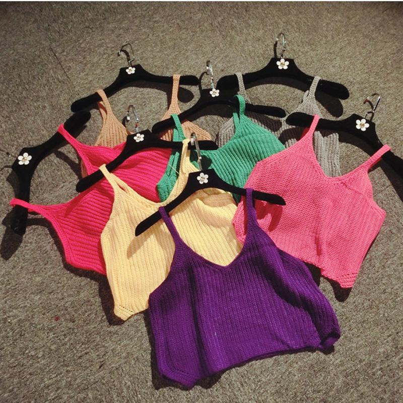 针织吊带女性感露脐帖色小吊带上衣打底衫短款内搭毛线背心女