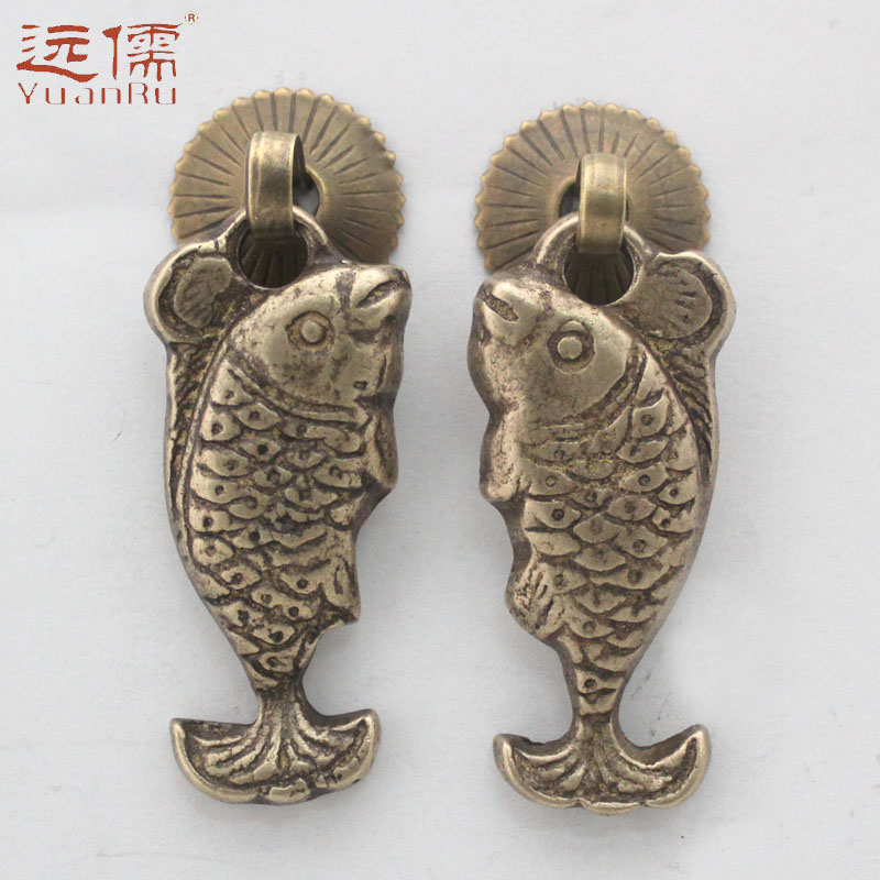 远儒铜雕中式仿古鱼拉手明清柜门纯铜抽屉拉手YRH1258一对
