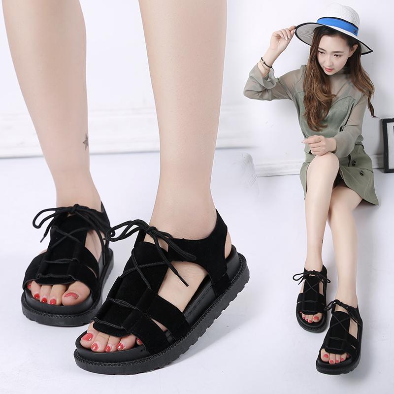 2017夏季新款平底低跟平跟松糕跟厚底罗马鞋系带女凉鞋学生鞋女鞋