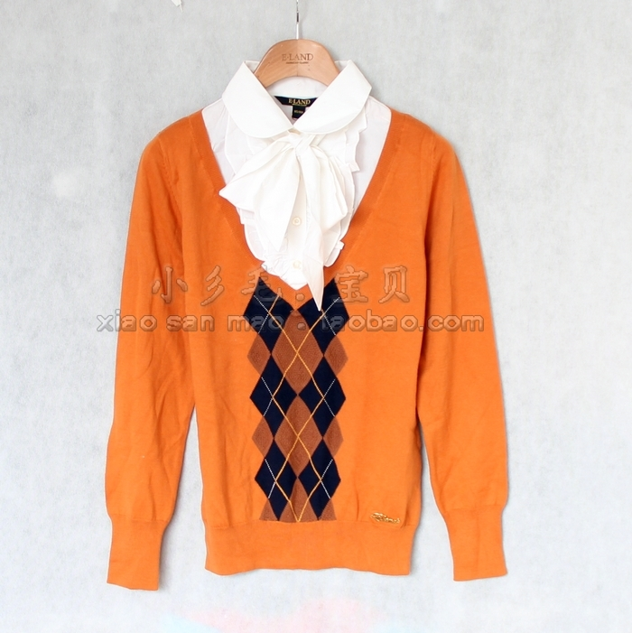 专柜正品 eland依恋 12秋款女士气质假两件长袖针织衫 eekw23801c