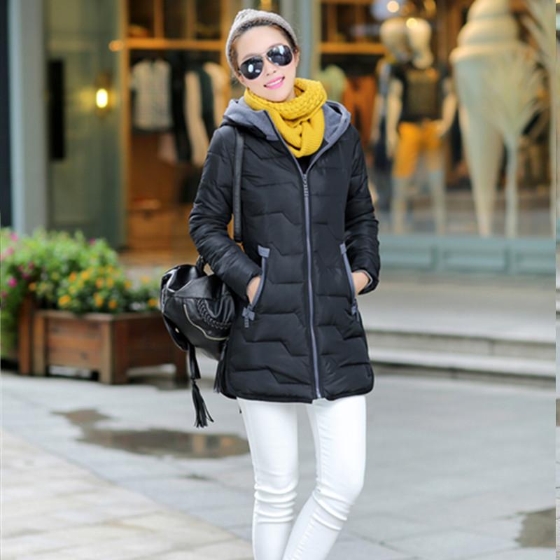 2015棉衣女冬装新款韩版修身中长款羽绒棉服外套女士连帽小棉袄