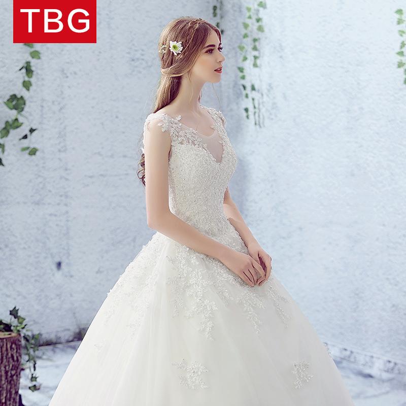 婚纱礼服2018新款新娘齐地显瘦宫廷拖尾公主梦幻结婚森系简约白色