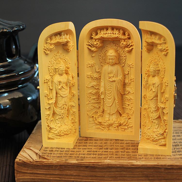 木木黄杨木雕佛像西方娑婆三圣观音菩萨三开盒木质工艺品摆件平安
