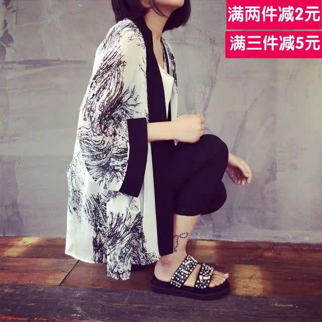 2015薄款韩版雪纺衫女夏季七分短袖中长款宽松防晒衣披肩印花开衫