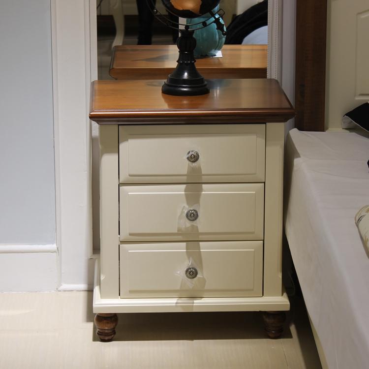 新款 特价 地中海 全实木 儿童床头柜 白色 欧式全实木床头柜