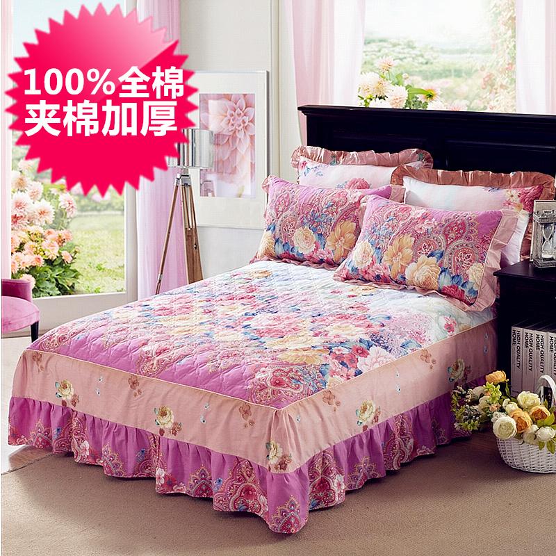全棉夹棉床裙床罩 纯棉加棉床套 秋冬加厚韩版床单单件 特价清仓