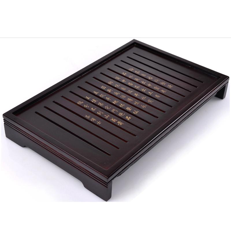 黑檀木茶盘功夫茶具实木托盘排水茶海茶台电磁炉整块木质博士茶托