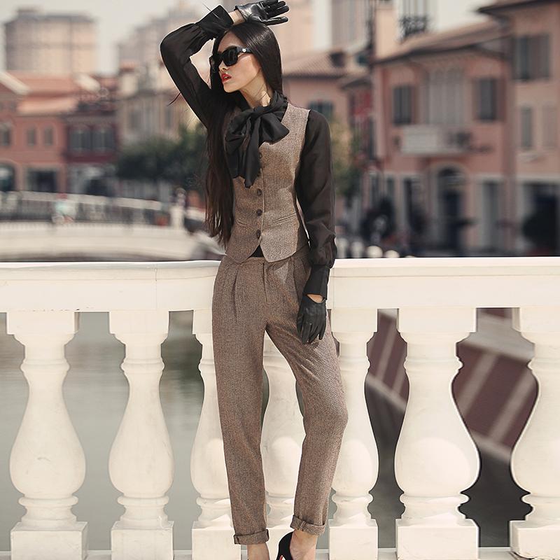 2015秋冬女裤高腰显瘦哈伦小脚裤英伦套装毛呢OL铅笔西服长裤马裤