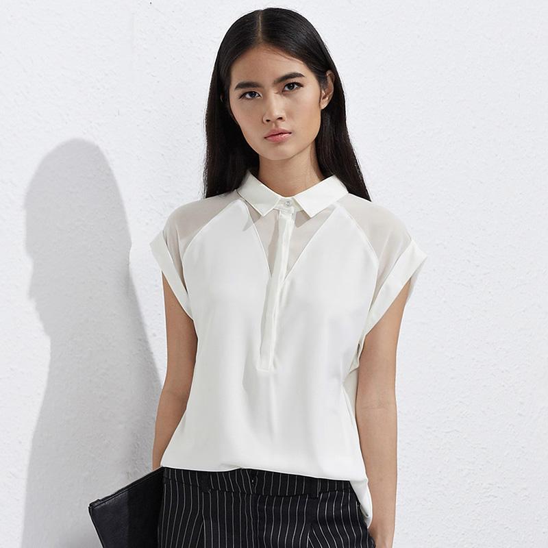 名雅惠2015夏装新款短袖衬衫女大码女装打底衫衬衣上衣雪纺衬衫女