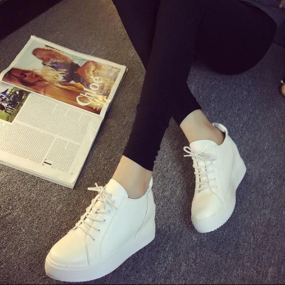 2015秋季皮内增高休闲鞋厚底松糕鞋韩版圆头系带女鞋坡跟单鞋