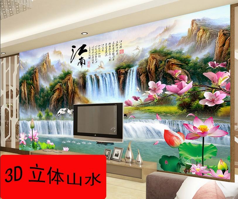 【爱陶】瓷砖背景墙电视 陶瓷装饰画 雕刻影视墙 3D立体山水风景