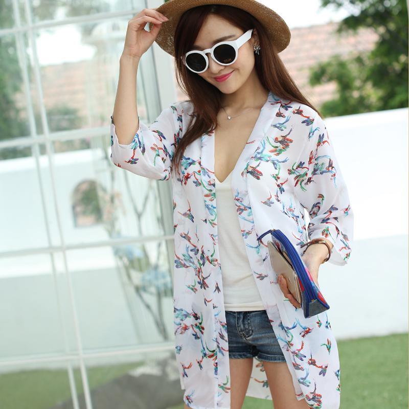雪纺防晒衣女夏2015长袖中长款薄开衫防紫外线外搭空调衫披肩外套