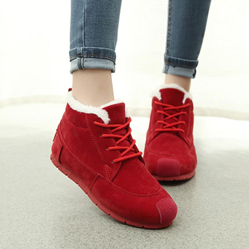 冬季休闲低帮韩版雪地靴潮平底中学生运动女鞋子加绒保暖棉鞋防水