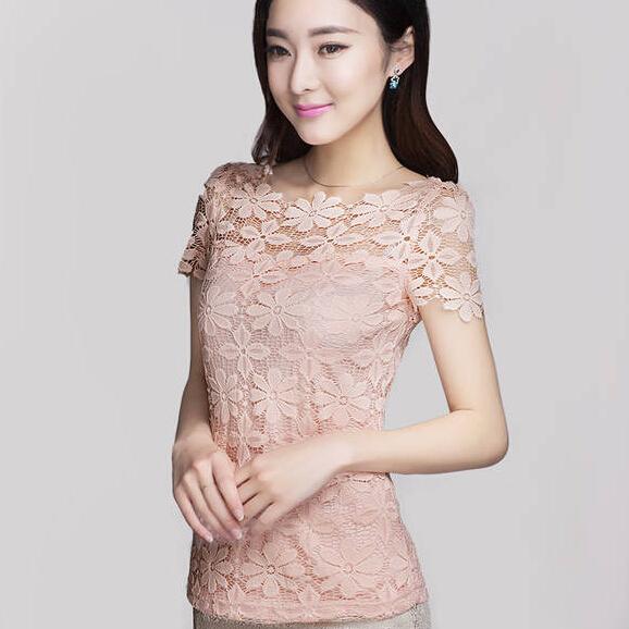韩版夜店性感勾花镂空蕾丝衫罩衫2015夏天短款上衣甜美打底小衫女