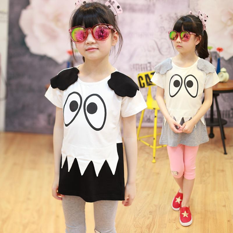 何以笙箫默同款 女童儿童童装夏季黑白眼睛中长款卡通短袖T恤421
