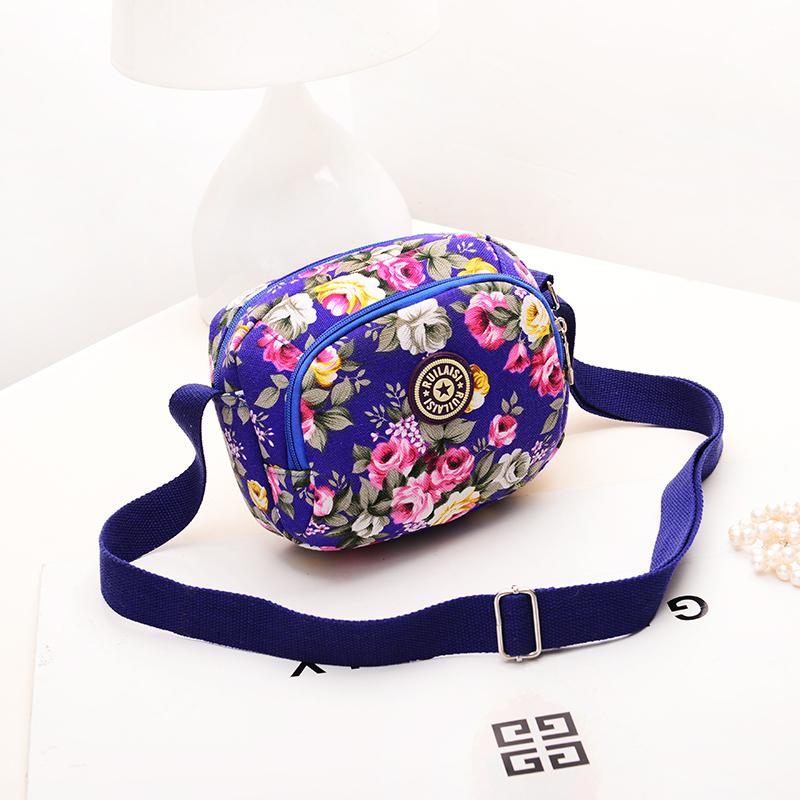 斜跨小包女包手机包零钱包休闲单肩防水尼龙帆布中老年小花布包包