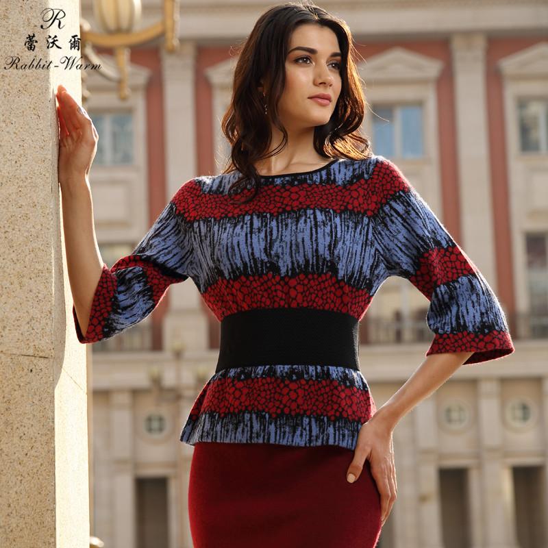 蕾沃尔 女式圆领中袖套衫 兔绒衫100%纯兔绒 毛衣针织衫 时尚