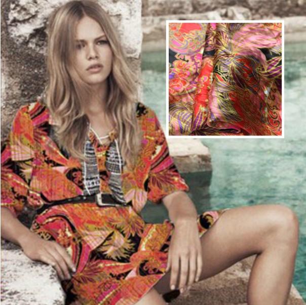 日式和风~提花透明条纹真丝 丝绸 桑蚕丝服装面料布料布匹布