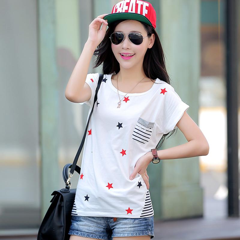 2015新款韩版夏装短袖t恤女大码条纹纯棉圆领纯色上衣打底小衫女
