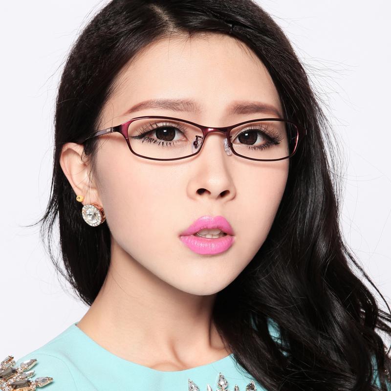 超轻纯钛眼镜架 气质眼镜框 近视女款圆脸 大脸潮框 光学配镜8666