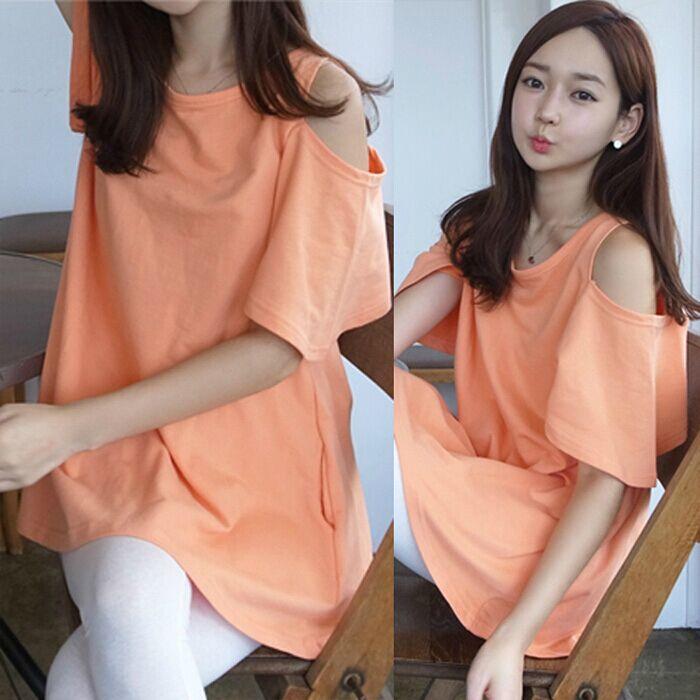 韩版新款女装上衣纯色宽松大码性感露肩姐妹装中长款圆领短袖t恤